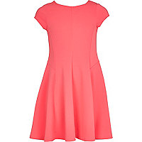 Girls pink crepe fit and flare dress