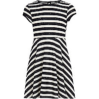 Girls black stripe skater sequin dress