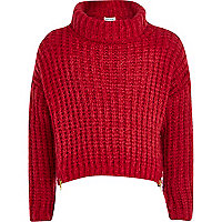 Girls red zip hem chunky knit jumper