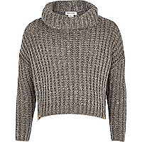 Girls grey zip hem chunky knit jumper