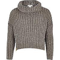 Girls grey zip hem chunky knit jumper