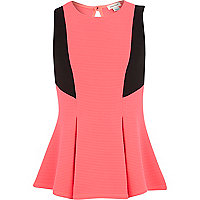 Girls pink colour block box pleat peplum top