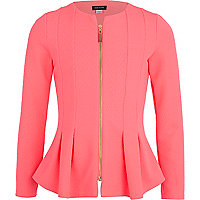 Girls pink structured peplum blazer