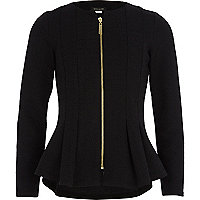 Girls black structured peplum blazer
