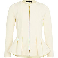 Girls cream peplum blazer