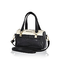 Girls black and cream bowler bag