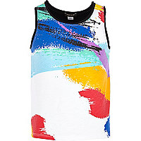 Girls white brush stroke print vest