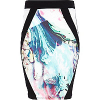 Girls cream marble print tube skirt