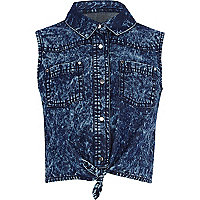 Girls blue acid wash denim tie front shirt