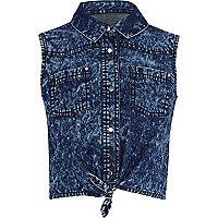 Girls blue acid wash denim tie front shirt