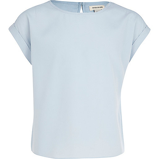 Girls pale blue box top