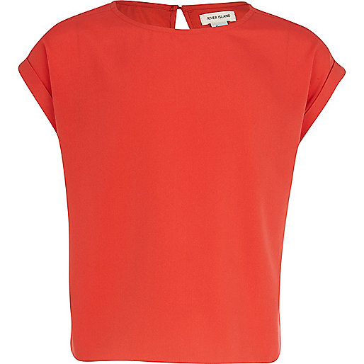 Girls red box fit top