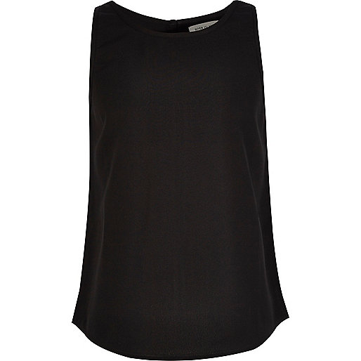 Girls black split back top