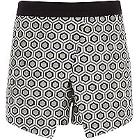 Girls cream jacquard geo print skort
