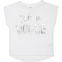 Mini girls white tres en vogue t-shirt