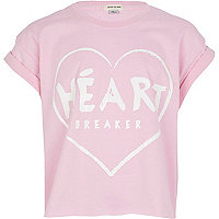 Girls pink heart breaker print t-shirt