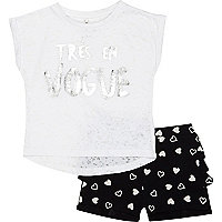 Mini girls white tres en vogue and shorts set