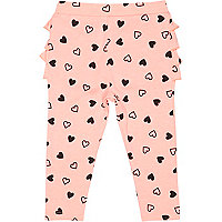 Mini girls pink ruffle bum heart leggings