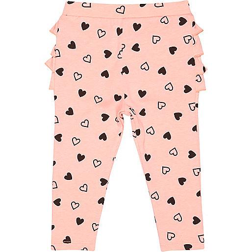 Mini girls pink ruffle bum heart leggings