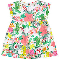 Mini girls pink jersey floral dress