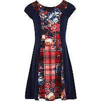 Girls red tartan and floral print dress