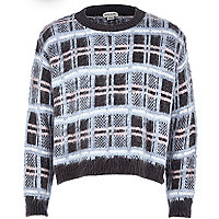 Girls blue check jumper