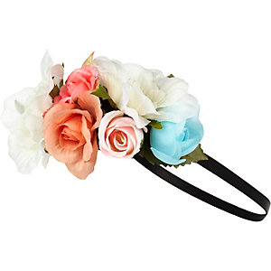 Girls pink floral garland head band