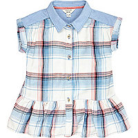 Mini girls blue check peplum blouse