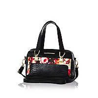 Girls black floral bowler bag