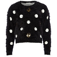 Girls black spot fluffy jumper