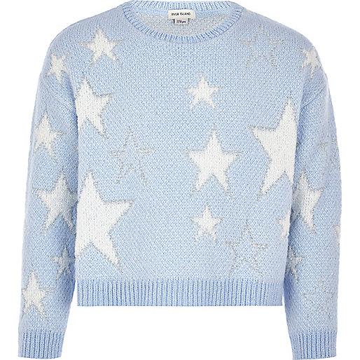 Girls blue star jumper