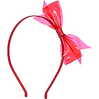 Girls dark pink plastic bow aliceband