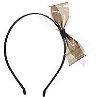 Girls black plastic bow aliceband