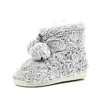 Girls grey faux fur slipper boots