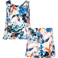 Girls blue pastel floral print set