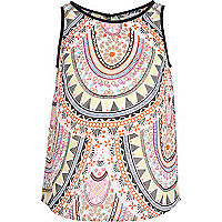 Girls white tribal print split back top