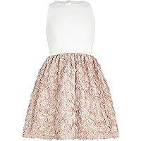 Girls cream and mink flower skirt party dress