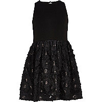Girls black flower prom dress