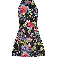 Girls black floral dress