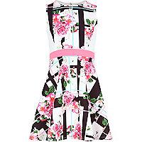 Girls cream floral check skater dress