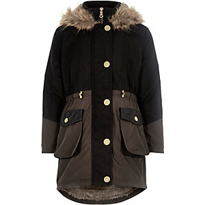 Girls black colour block parka coat