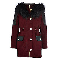 Girls red colour block luxe parka coat