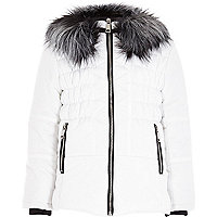 Girls white padded ski jacket