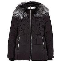 Girls black padded ski jacket