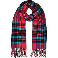 Girls pink tartan check scarf
