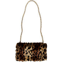 Girls brown leopard hand warmer