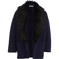 Girls navy quilted faux fur collar jacket