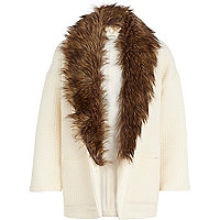 Girls cream quilted faux fur collar jacket