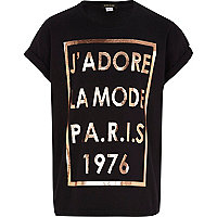 Girls black J'adore foil print t-shirt