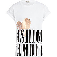 Girls white fashion l'amour print t-shirt